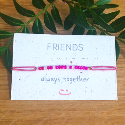 "Bracelet message en code morse ""FRIENDS"" - couleur rose"