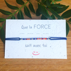 "Bracelet en code morse ""FORCE"" - couleur orange & bleu"