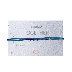 "Bracelet perle en code morse ""TOGETHER"" - couleur bleu"